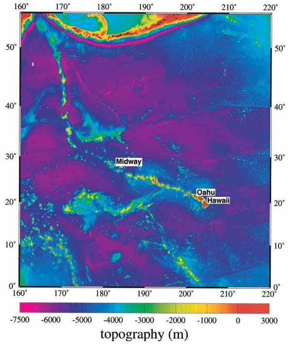 Топография океанического дна для Гавайской вулканической цепи в Меркаторной проекции (ЕТОРО5)