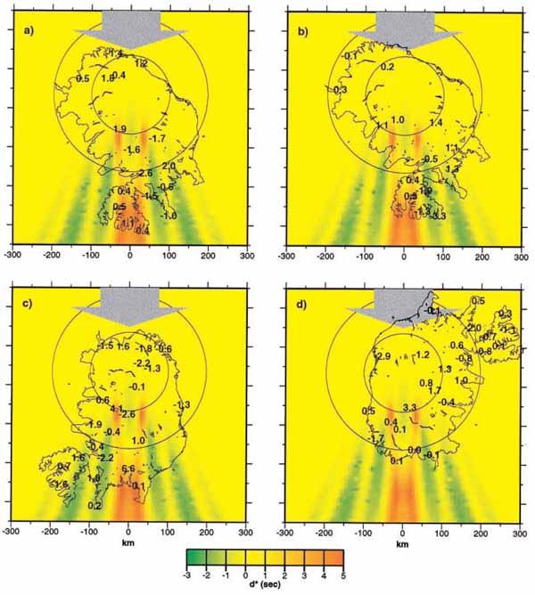 Сопоставление наблюденных и предсказанных значений t* вариации для вертикальной аномалии уменьшения скорости.