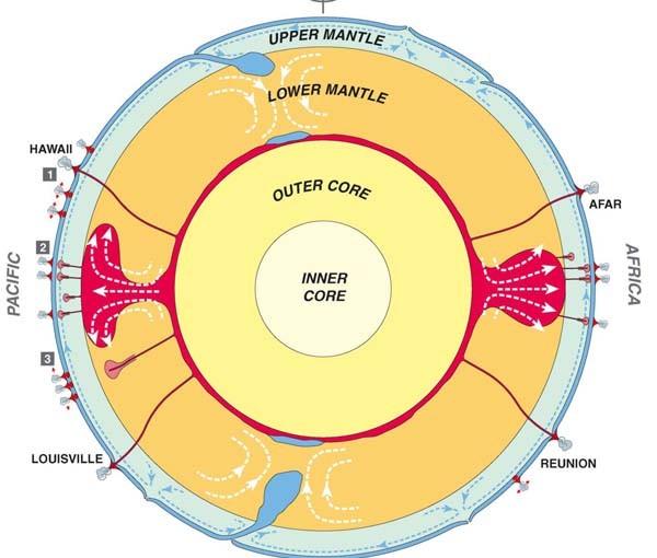 Схематический разрез динамической Земли, проведенный через ось вращения, проходящий через три типа плюмов/горячих точек