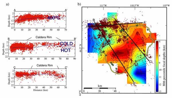 Фокальная зона концентрации очагов землетрясений области Hebgen Lake - Йеллоустоун