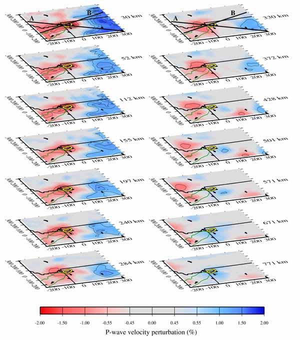 Сейсмотомографическая модель внутренней структуры Земли под Йеллоустонской горячей точкой.