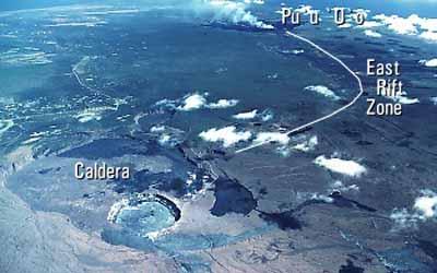 Вид с верху на саммит кальдеры и восточную рифтовую зону вулкана Килауэа.