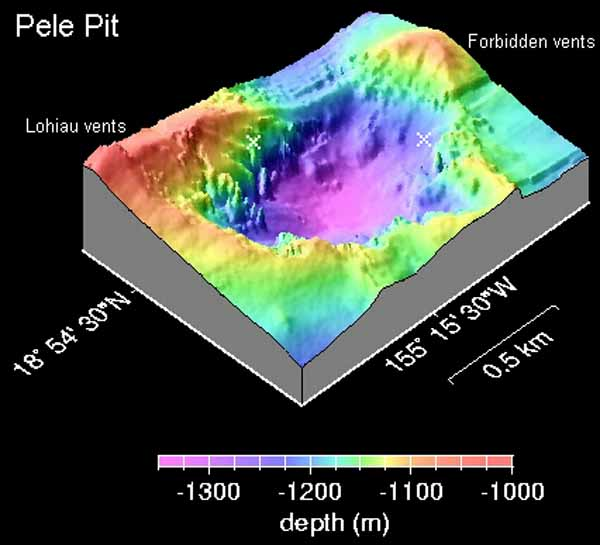 Трехмерная батиметрическая карта Пит кратера