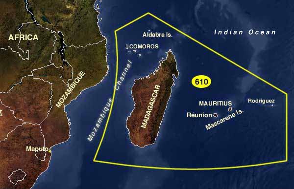 Карта архипелага Маскаренских островов