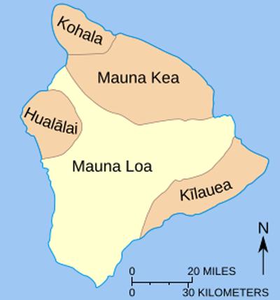 Карта вулкана Мауна-Лоа на острове Гавайи.