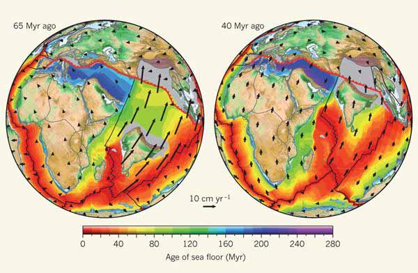 Индийская и Африканская плиты 65 и 40 миллионов лет назад.