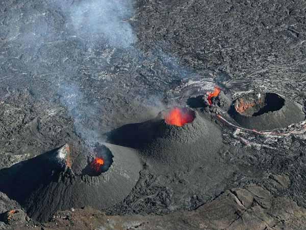 Impressive Piton de la Fournaise volcano Eruption. Reunion Hotspot.