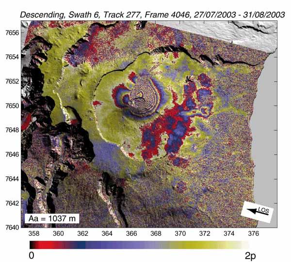 ASAR интерферограммы вулкана Питон-де-ла-Фурнез