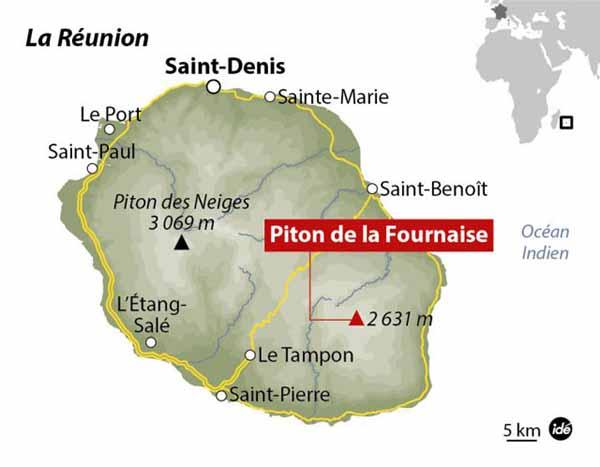 Карта острова Реюньон, подчеркнуто расположение вулкана Питон-де-ла-Фурнез.